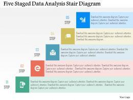 Five Staged Data Analysis Stair Diagram Flat Powerpoint Design