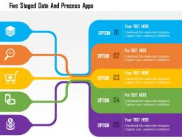 Five Staged Data And Process Apps Flat Powerpoint Design