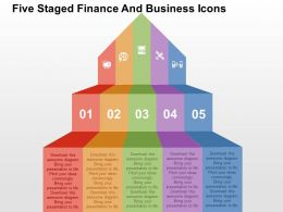 Five Staged Finance And Business Icons Flat Powerpoint Design