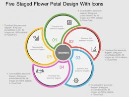 Five Staged Flower Petal Design With Icons Flat Powerpoint Design