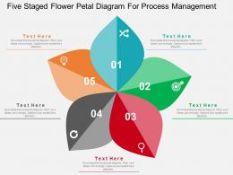 Five Staged Flower Petal Diagram For Process Management Flat Powerpoint Design