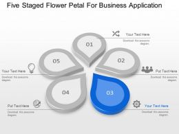 Five Staged Flower Petal For Business Application Powerpoint Template Slide