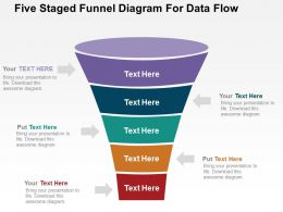 Five Staged Funnel Diagram For Data Flow Flat Powerpoint Design
