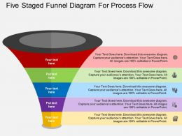 Five Staged Funnel Diagram For Process Flow Flat Powerpoint Desgin