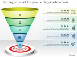 Five Staged Funnel Diagram For Target Achievement Powerpoint Templates