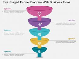 Five Staged Funnel Diagram With Business Icons Flat Powerpoint Design