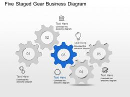 Five Staged Gear Business Diagram Powerpoint Template Slide