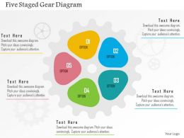 five_staged_gear_diagram_flat_powerpoint_design_Slide01