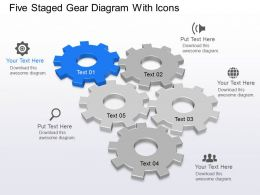 Five Staged Gear Diagram With Icons Powerpoint Template Slide