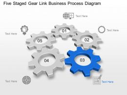Five Staged Gear Link Business Process Diagram Powerpoint Template Slide