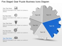 Five Staged Gear Puzzle Business Icons Diagram Powerpoint Template Slide