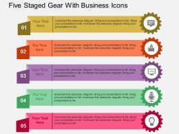 Five Staged Gear With Business Icons Flat Powerpoint Design