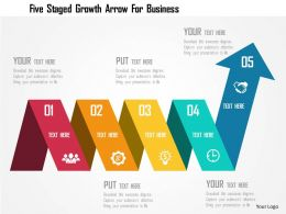 Five Staged Growth Arrow For Business Flat Powerpoint Design