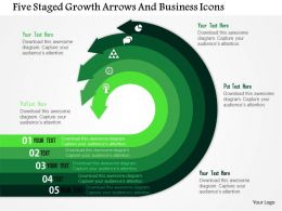 Five Staged Growth Arrows And Business Icons Flat Powerpoint Design