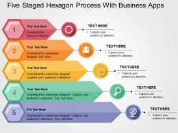 Five Staged Hexagon Process With Business Apps Flat Powerpoint Design