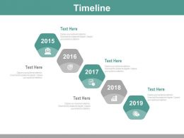 Five Staged Hexagonal Timeline With Years Powerpoint Slides