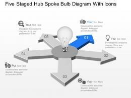 Five Staged Hub Spoke Bulb Diagram With Icons Powerpoint Template Slide