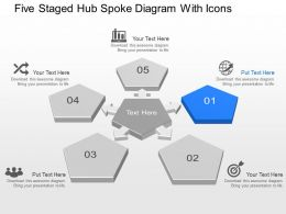 Five Staged Hub Spoke Diagram With Icons Powerpoint Template Slide