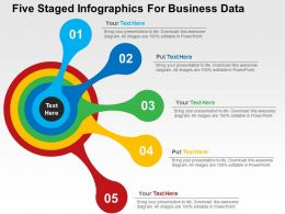 Five Staged Infographics For Business Data Flat Powerpoint Design