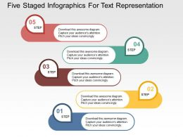 Five Staged Infographics For Text Representation Flat Powerpoint Design