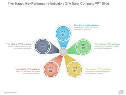 Five Staged Key Performance Indicators Of A Sales Company Ppt Slide