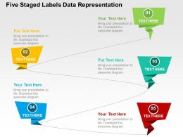 Five Staged Labels Data Representation Flat Powerpoint Design