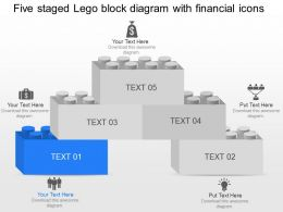 Five Staged Lego Block Diagram With Financial Icons Powerpoint Template Slide