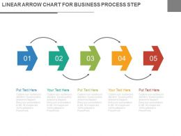 Five Staged Linear Arrow Chart For Business Process Steps Flat Powerpoint Design