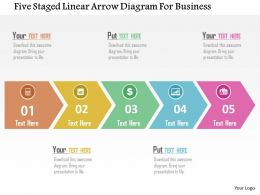 Five Staged Linear Arrow Diagram For Business Flat Powerpoint Design
