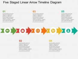 Five Staged Linear Arrow Timeline Diagram Flat Powerpoint Design