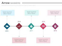 Five Staged Linear Banner Financial Icons Powerpoint Slides