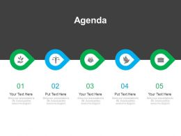 Five Staged Linear Business Agenda Diagram Powerpoint Slides