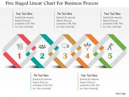 Five Staged Linear Chart For Business Process Flat Powerpoint Design