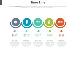 Five Staged Linear Chart Timeline For Result Analysis Powerpoint Slides