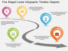 Five Staged Linear Infographic Timeline Roadmap Diagram Flat Powerpoint Design