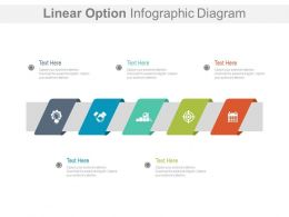 Five Staged Linear Option Infographic Diagram Powerpoint Slides