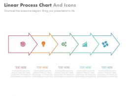 Five Staged Linear Process Chart And Icons Powerpoint Slides