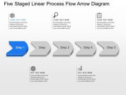 Five Staged Linear Process Flow Arrow Diagram Powerpoint Template Slide