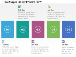 Five Staged Linear Process Flow Flat Powerpoint Design