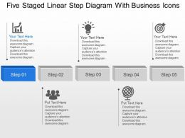Five Staged Linear Step Diagram With Business Icons Powerpoint Template Slide
