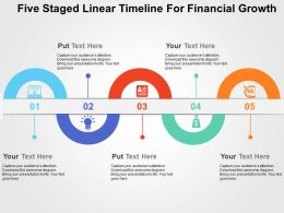Five Staged Linear Timeline For Financial Growth Flat Powerpoint Design