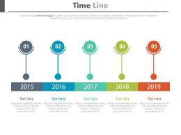 Five Staged Linear Timeline For Financial Strategy Powerpoint Slides