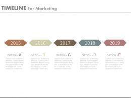five_staged_linear_year_based_timeline_for_marketing_powerpoint_slides_Slide01