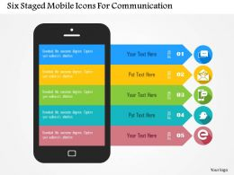 Five Staged Mobile Icons For Communication Flat Powerpoint Design