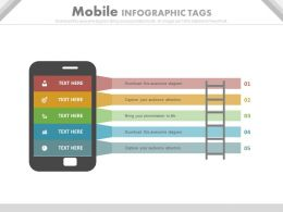 Five Staged Mobile Infographics Tags Flat Powerpoint Design