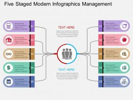 Five Staged Modern Infographics Management Flat Powerpoint Design