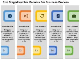 Five Staged Number Banners For Business Process Flat Powerpoint Design