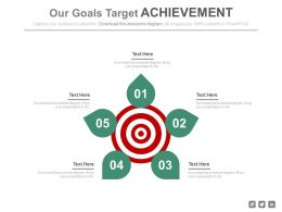 Five Staged Our Goals Target Achievement Powerpoint Slides
