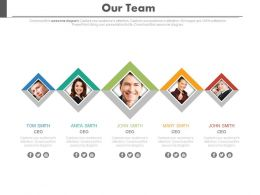 five_staged_our_team_with_social_media_links_powerpoint_slides_Slide01