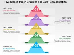 Five Staged Paper Graphics For Data Representation Flat Powerpoint Design